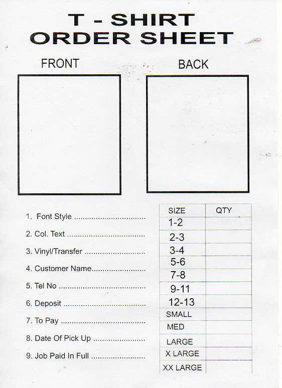T Shirt Order Form Images  Reverse Search